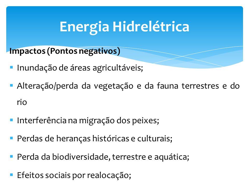 Impactos (Pontos negativos) Inundação de áreas agricultáveis; Alteração/perda da vegetação e da fauna terrestres e do rio Interferência na migração do