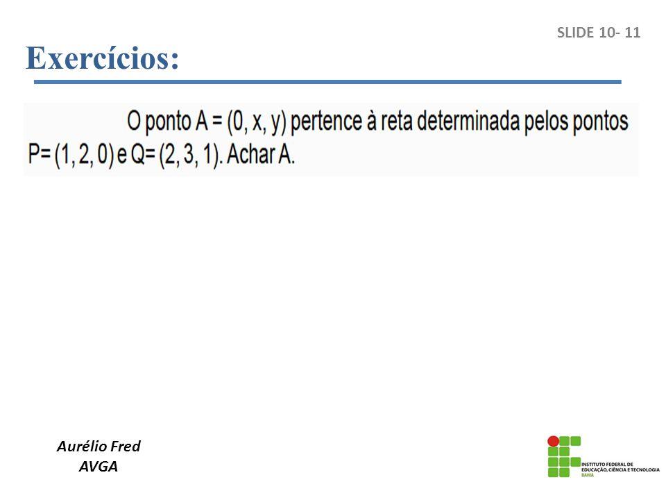 Aurélio Fred AVGA SLIDE 10- 11 Exercícios: