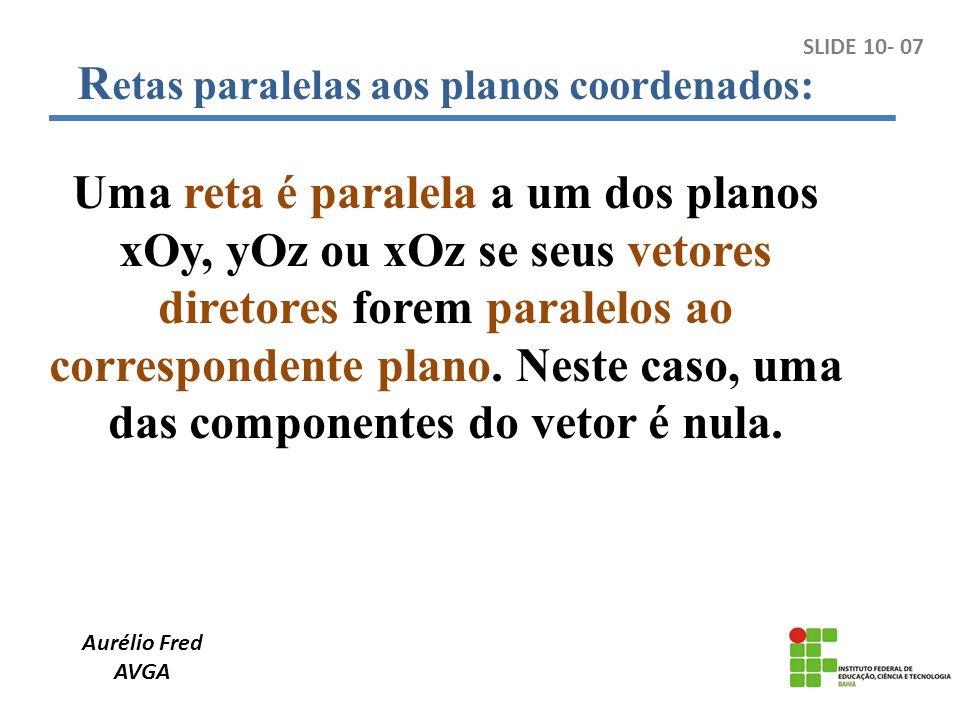 Aurélio Fred AVGA R etas paralelas aos planos coordenados: Uma reta é paralela a um dos planos xOy, yOz ou xOz se seus vetores diretores forem paralel