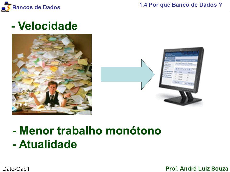 Bancos de Dados Prof.André Luiz Souza Date-Cap1 1.4 Por que Banco de Dados .