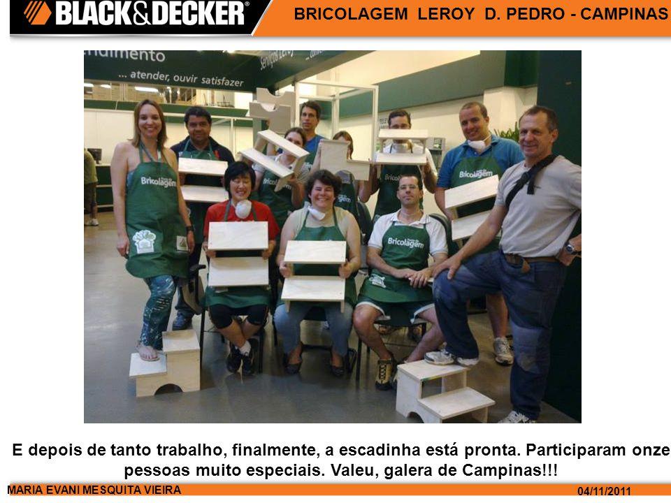 MARIA EVANI MESQUITA VIEIRA 04/11/2011 BRICOLAGEM LEROY D. PEDRO - CAMPINAS E depois de tanto trabalho, finalmente, a escadinha está pronta. Participa