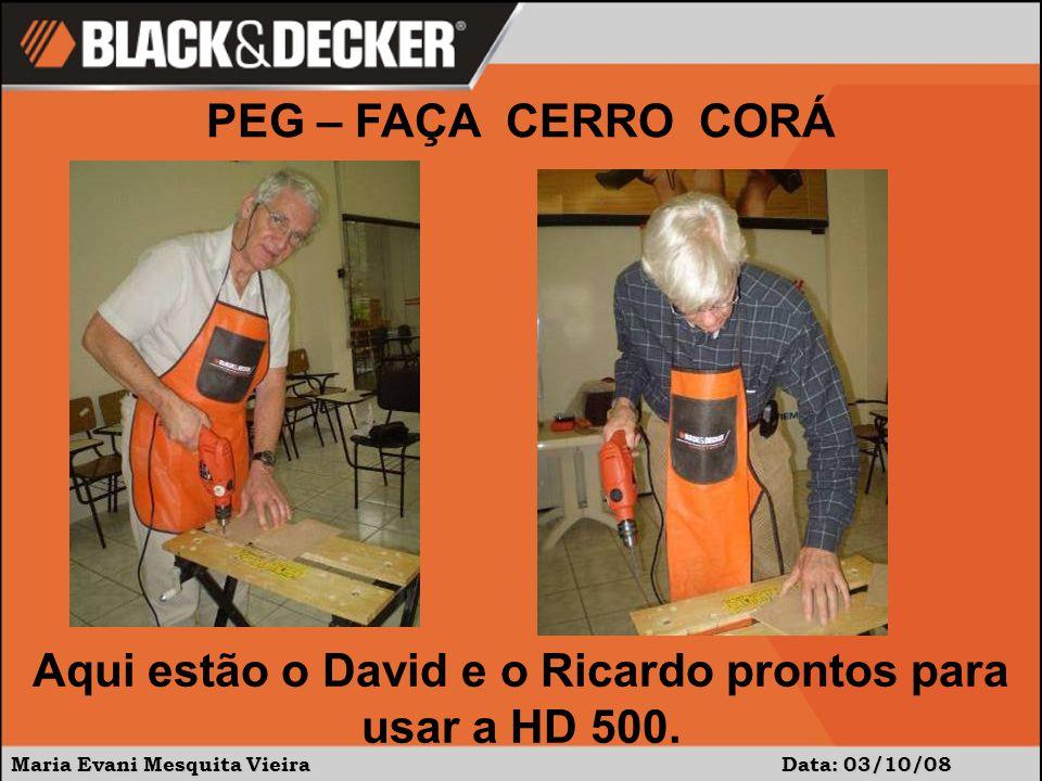 Maria Evani Mesquita Vieira Data: 03/10/08 Aqui estão o David e o Ricardo prontos para usar a HD 500.