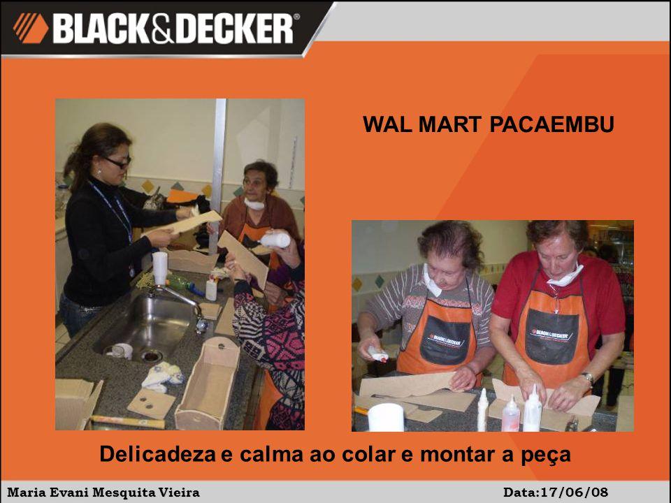 Maria Evani Mesquita Vieira Data:17/06/08 WAL MART PACAEMBU Delicadeza e calma ao colar e montar a peça
