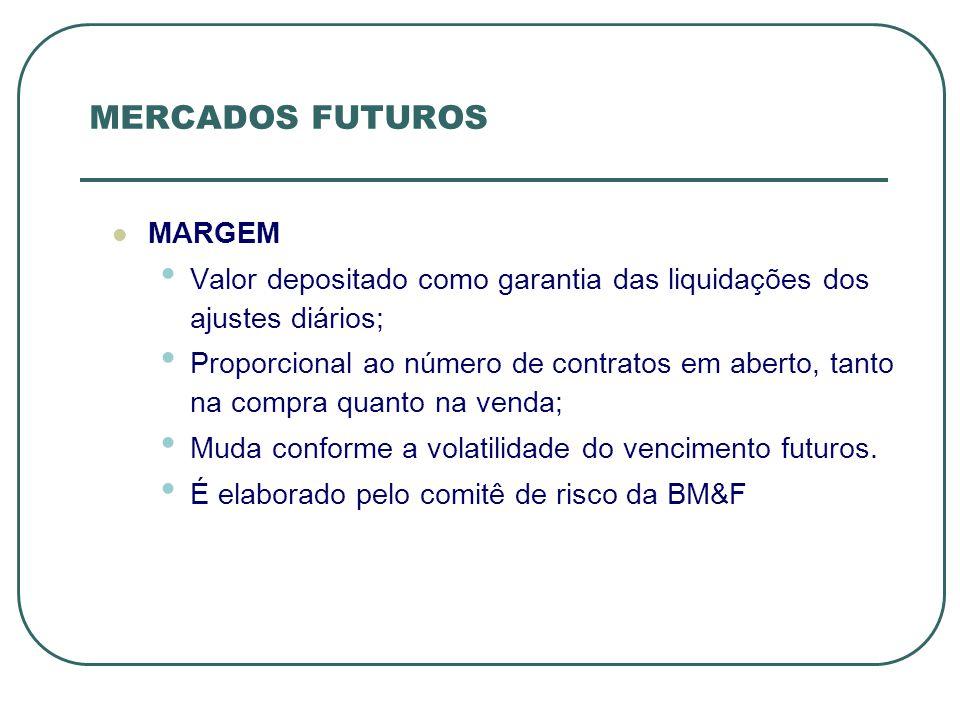 MERCADOS FUTUROS MARGEM Valor depositado como garantia das liquidações dos ajustes diários; Proporcional ao número de contratos em aberto, tanto na co