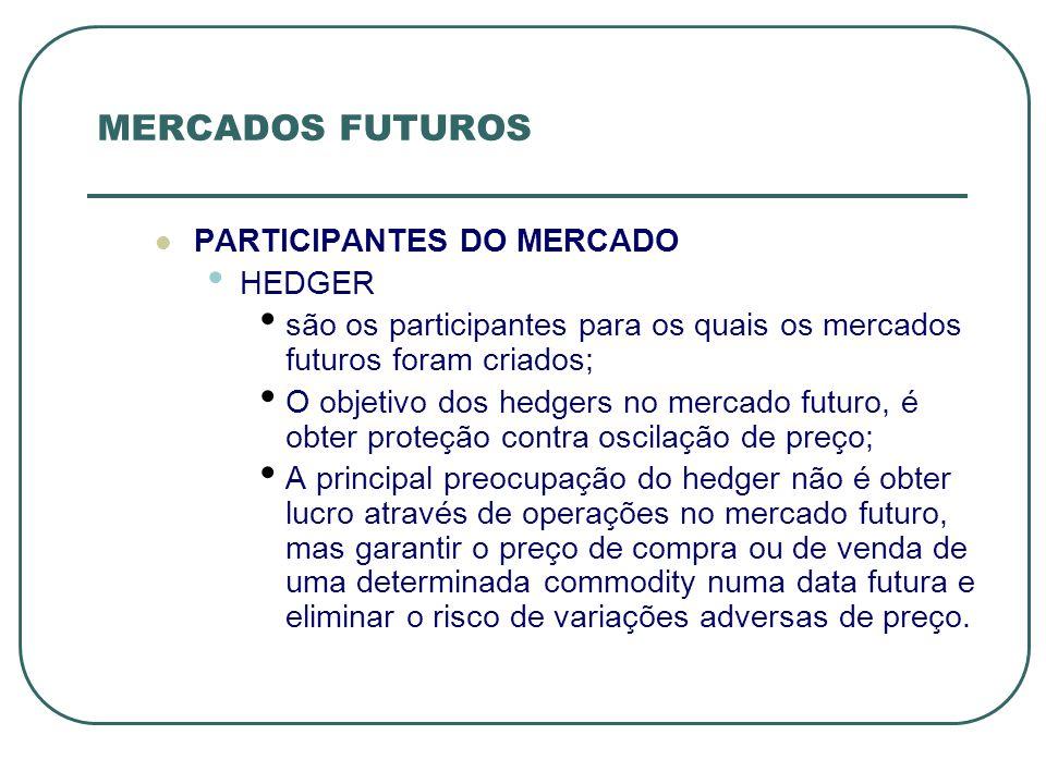 MERCADOS FUTUROS PARTICIPANTES DO MERCADO HEDGER são os participantes para os quais os mercados futuros foram criados; O objetivo dos hedgers no merca