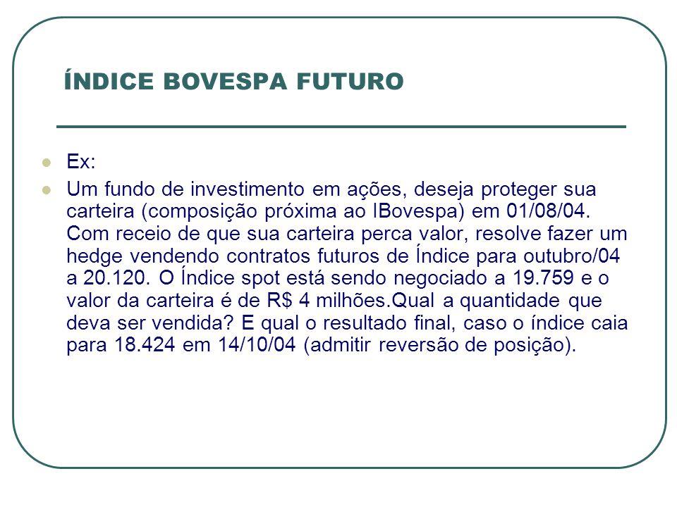 Ex: Um fundo de investimento em ações, deseja proteger sua carteira (composição próxima ao IBovespa) em 01/08/04. Com receio de que sua carteira perca