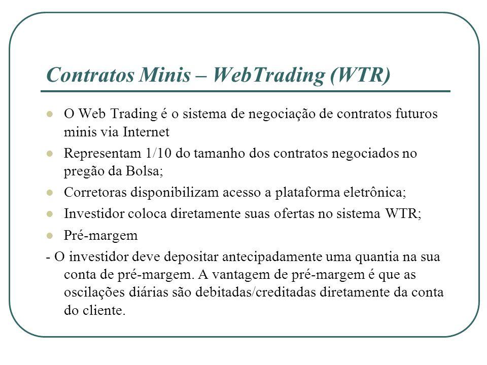 Contratos Minis – WebTrading (WTR) O Web Trading é o sistema de negociação de contratos futuros minis via Internet Representam 1/10 do tamanho dos con