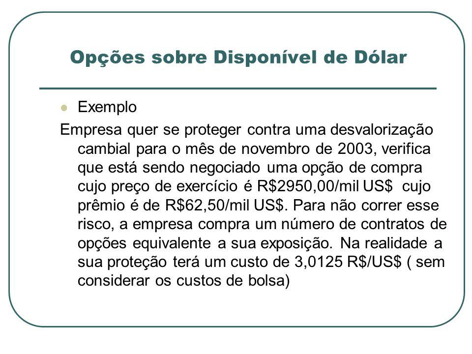 Exemplo Empresa quer se proteger contra uma desvalorização cambial para o mês de novembro de 2003, verifica que está sendo negociado uma opção de comp