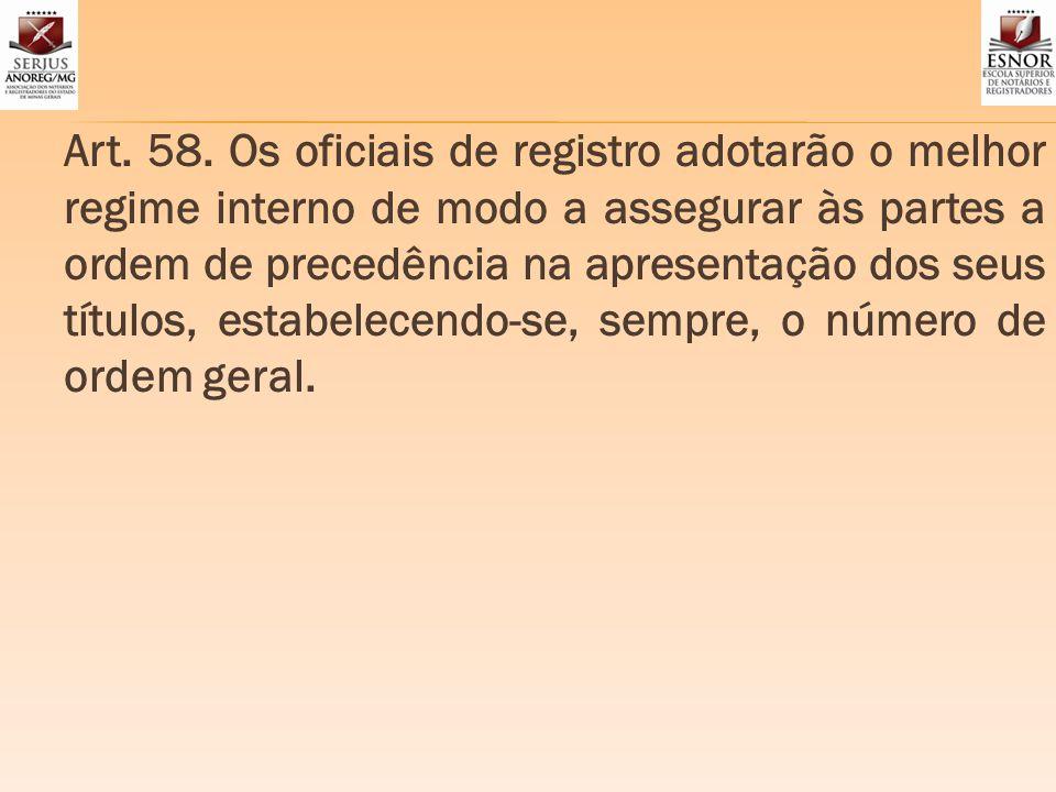 Art. 58. Os oficiais de registro adotarão o melhor regime interno de modo a assegurar às partes a ordem de precedência na apresentação dos seus título