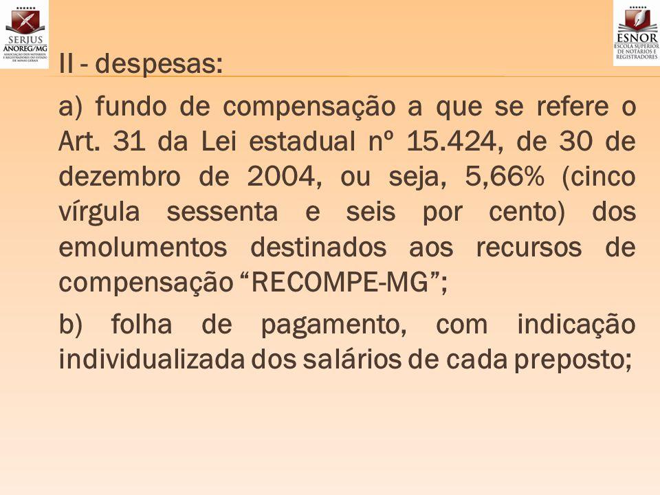 II - despesas: a) fundo de compensação a que se refere o Art. 31 da Lei estadual nº 15.424, de 30 de dezembro de 2004, ou seja, 5,66% (cinco vírgula s