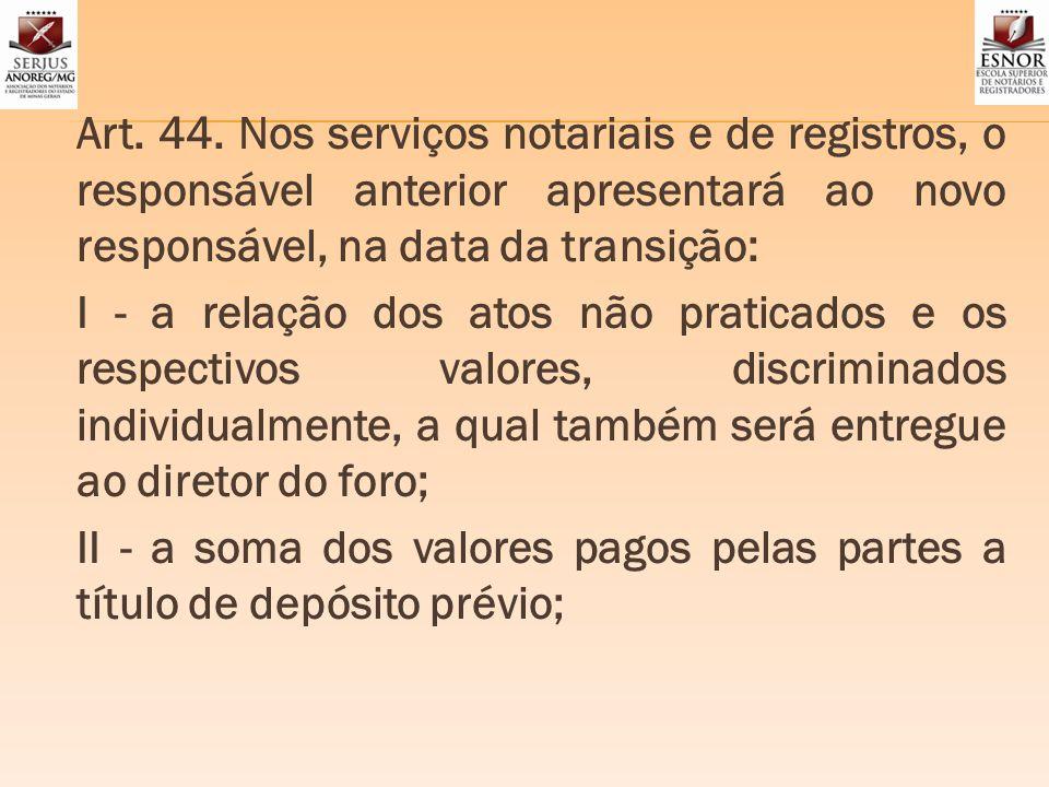 Art. 44. Nos serviços notariais e de registros, o responsável anterior apresentará ao novo responsável, na data da transição: I - a relação dos atos n
