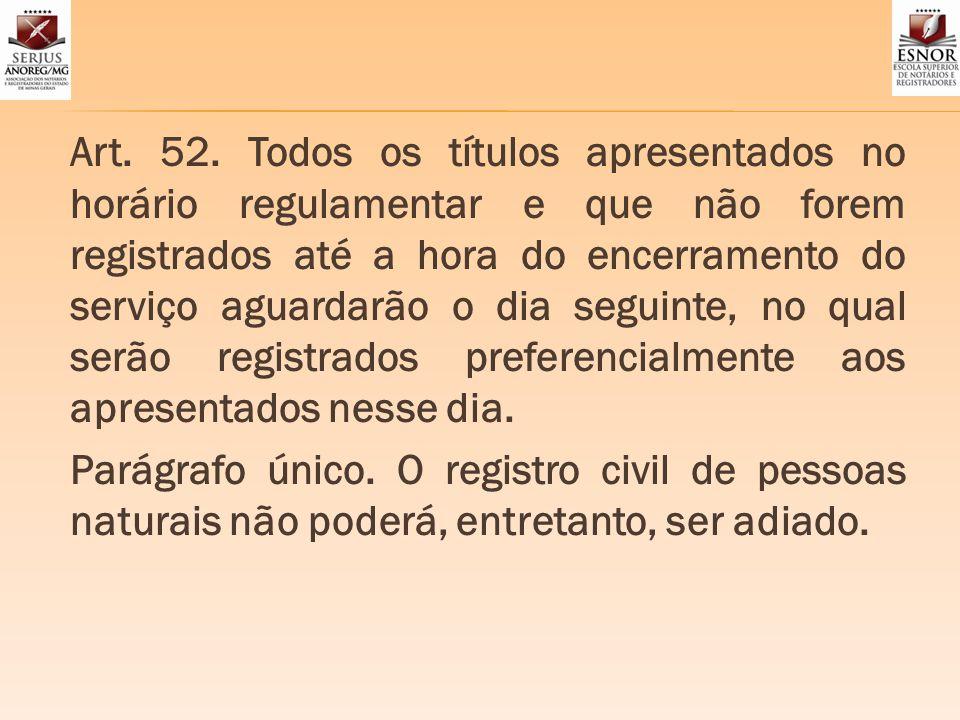 Art. 52. Todos os títulos apresentados no horário regulamentar e que não forem registrados até a hora do encerramento do serviço aguardarão o dia segu