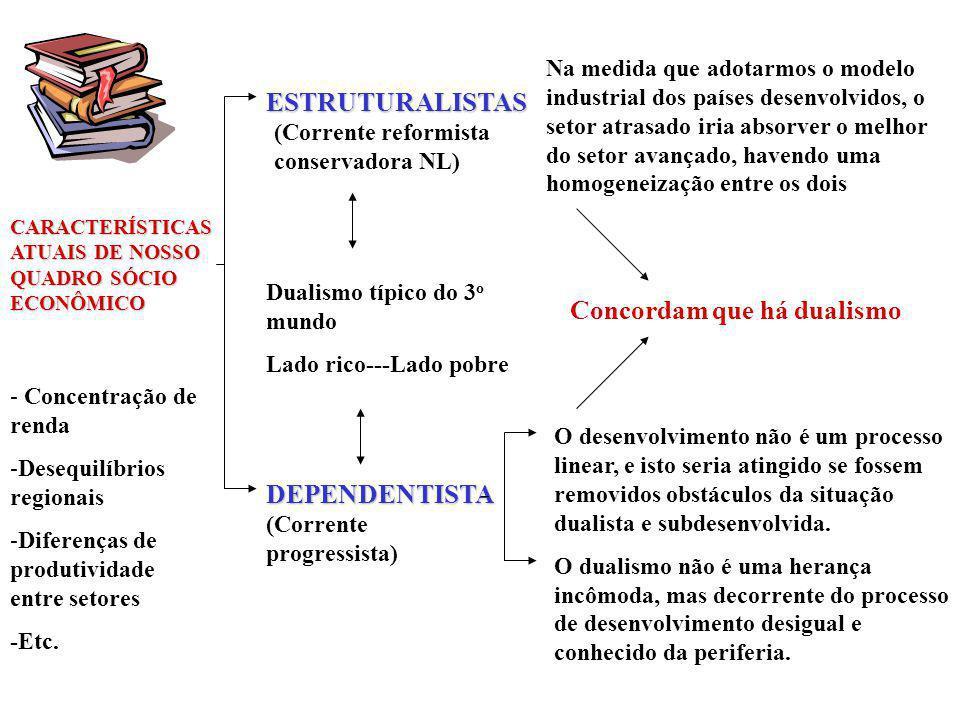 CARACTERÍSTICAS ATUAIS DE NOSSO QUADRO SÓCIO ECONÔMICO - Concentração de renda -Desequilíbrios regionais -Diferenças de produtividade entre setores -Etc.