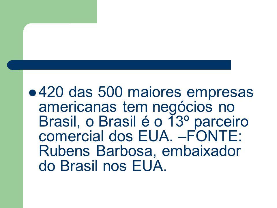 420 das 500 maiores empresas americanas tem negócios no Brasil, o Brasil é o 13º parceiro comercial dos EUA. –FONTE: Rubens Barbosa, embaixador do Bra