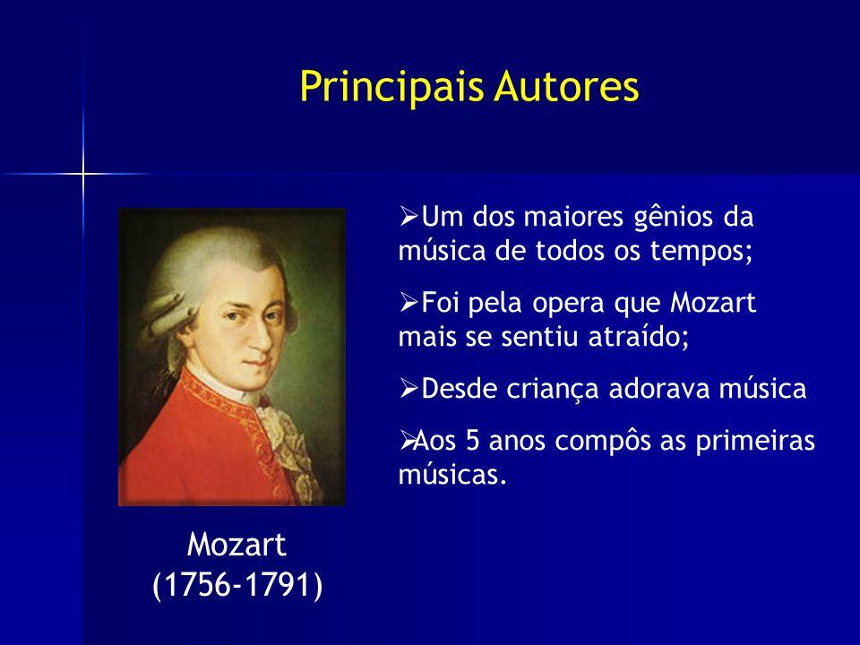 Mozart (1756-1791) Um dos maiores gênios da música de todos os tempos; Foi pela opera que Mozart mais se sentiu atraído; Desde criança adorava música Aos 5 anos compôs as primeiras músicas.