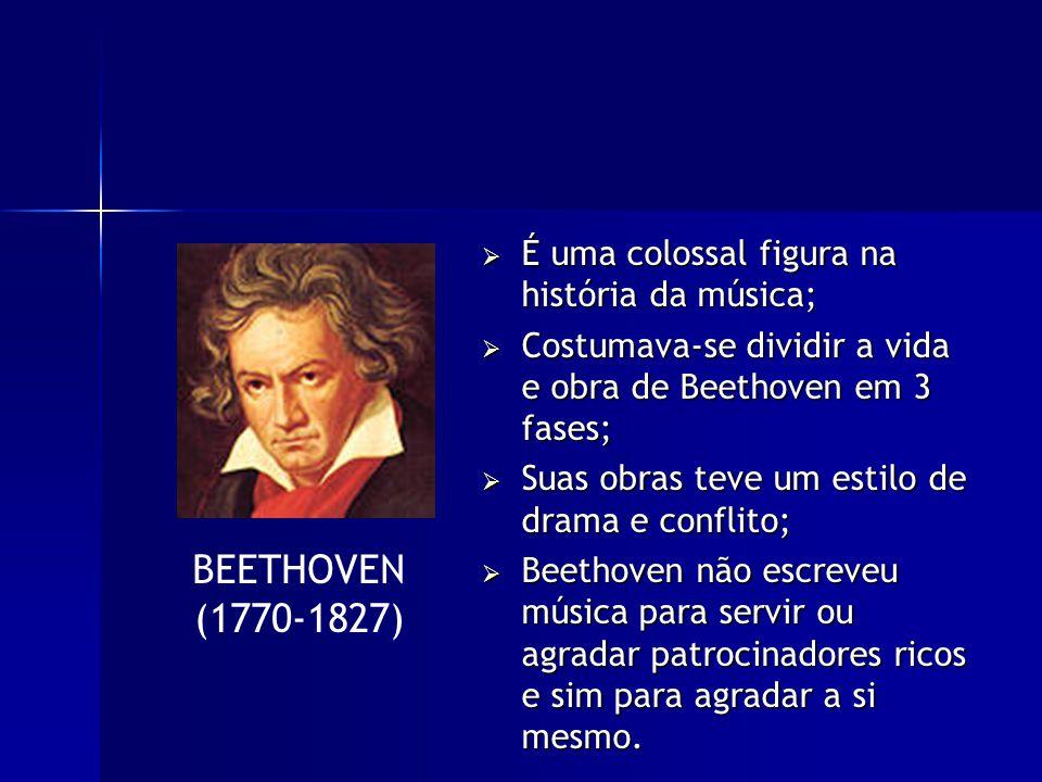 É uma colossal figura na história da música; É uma colossal figura na história da música; Costumava-se dividir a vida e obra de Beethoven em 3 fases; Costumava-se dividir a vida e obra de Beethoven em 3 fases; Suas obras teve um estilo de drama e conflito; Suas obras teve um estilo de drama e conflito; Beethoven não escreveu música para servir ou agradar patrocinadores ricos e sim para agradar a si mesmo.