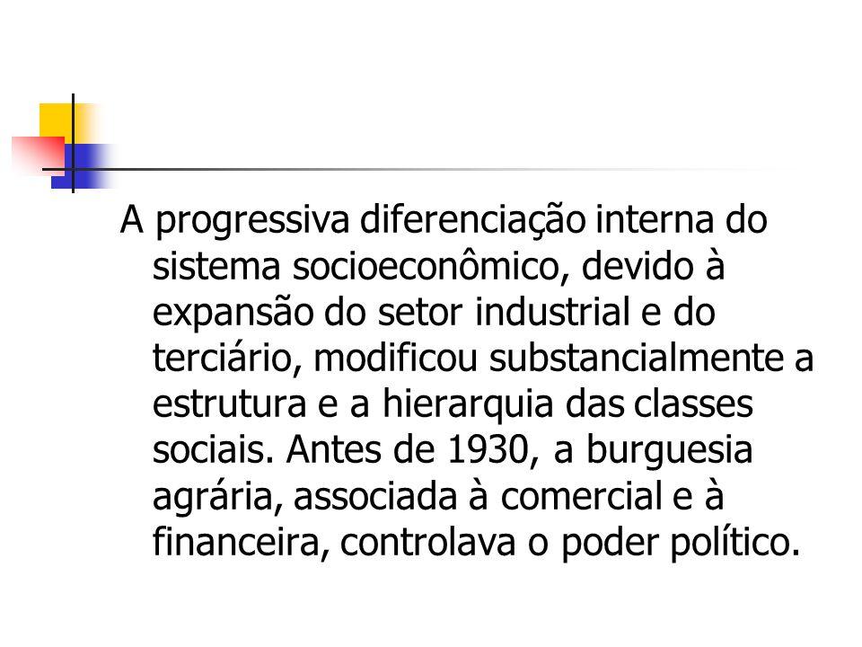 A progressiva diferenciação interna do sistema socioeconômico, devido à expansão do setor industrial e do terciário, modificou substancialmente a estr