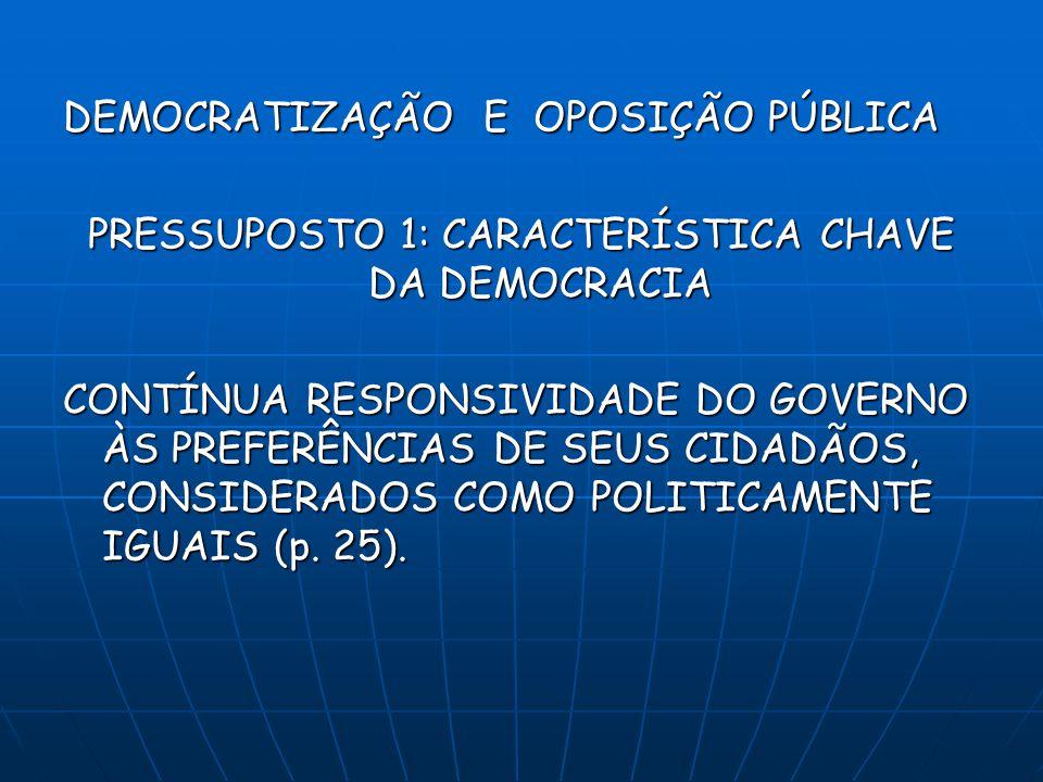 DEMOCRATIZAÇÃO E OPOSIÇÃO PÚBLICA PRESSUPOSTO 1: CARACTERÍSTICA CHAVE DA DEMOCRACIA CONTÍNUA RESPONSIVIDADE DO GOVERNO ÀS PREFERÊNCIAS DE SEUS CIDADÃOS, CONSIDERADOS COMO POLITICAMENTE IGUAIS (p.