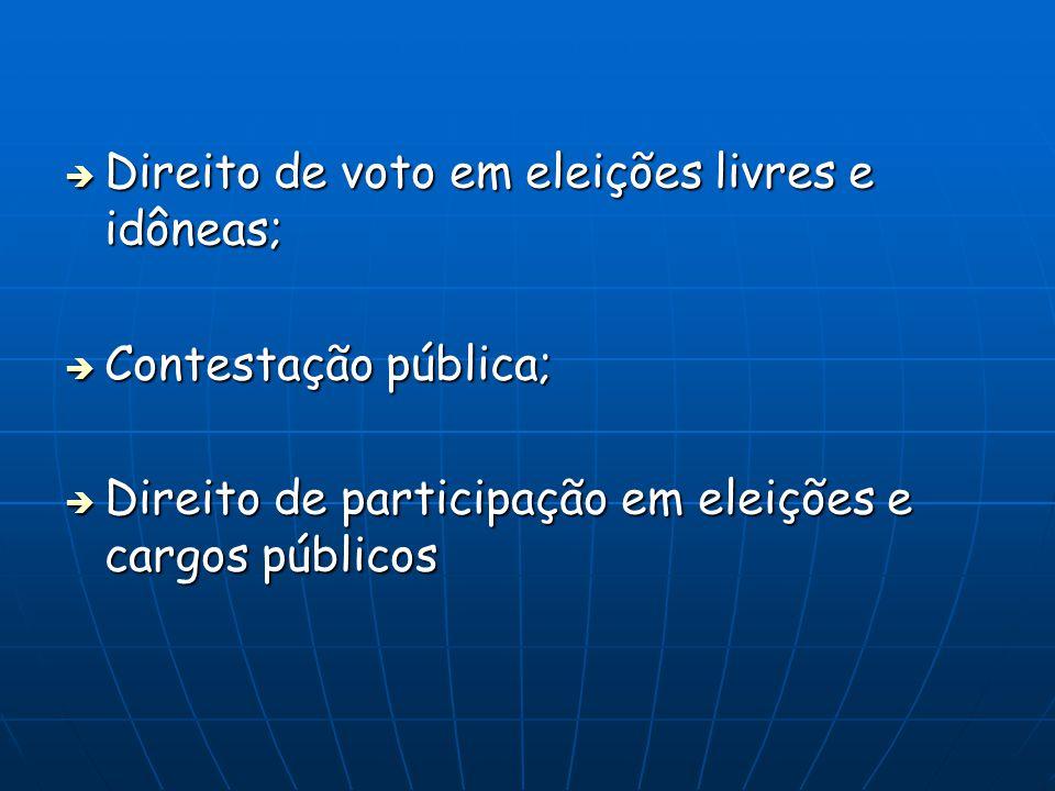Direito de voto em eleições livres e idôneas; Direito de voto em eleições livres e idôneas; Contestação pública; Contestação pública; Direito de participação em eleições e cargos públicos Direito de participação em eleições e cargos públicos