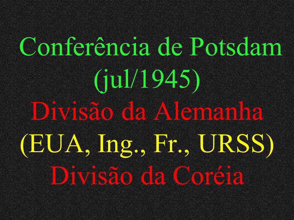 Conferência de Yalta – URSS (fev/1945) Áreas de influência