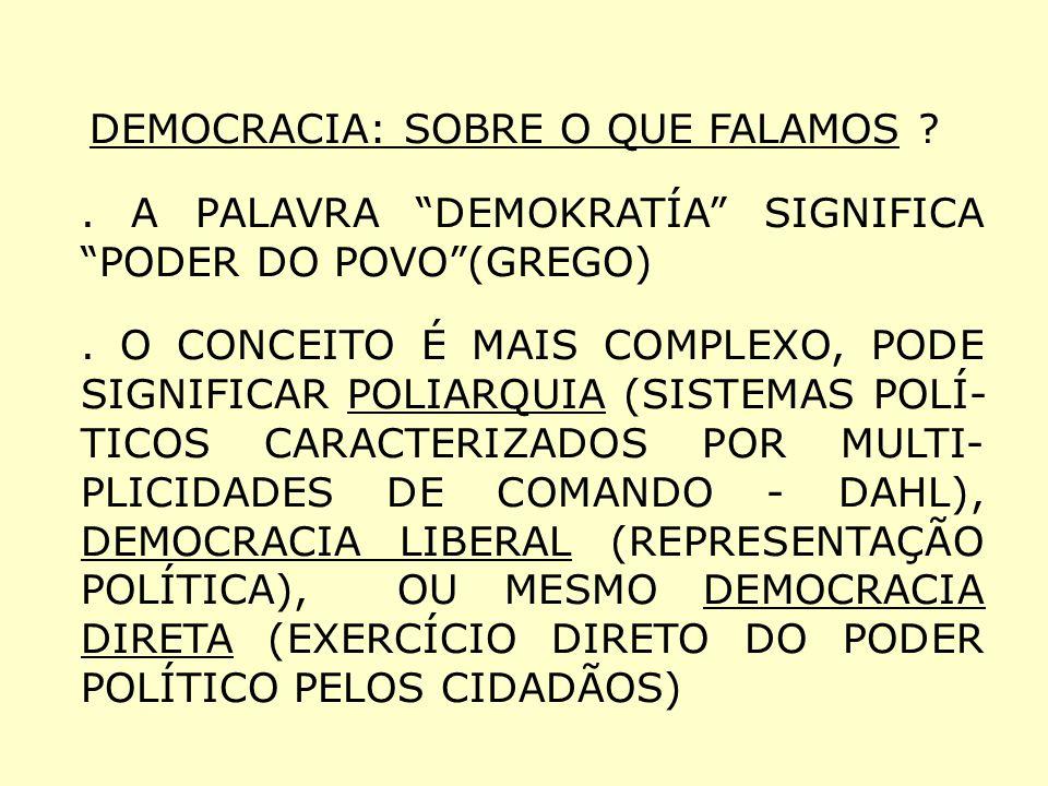 DEMOCRACIA: SOBRE O QUE FALAMOS ?. A PALAVRA DEMOKRATÍA SIGNIFICA PODER DO POVO(GREGO). O CONCEITO É MAIS COMPLEXO, PODE SIGNIFICAR POLIARQUIA (SISTEM