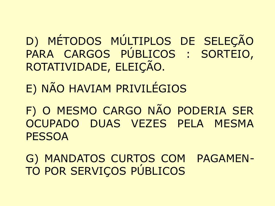 D) MÉTODOS MÚLTIPLOS DE SELEÇÃO PARA CARGOS PÚBLICOS : SORTEIO, ROTATIVIDADE, ELEIÇÃO. E) NÃO HAVIAM PRIVILÉGIOS F) O MESMO CARGO NÃO PODERIA SER OCUP