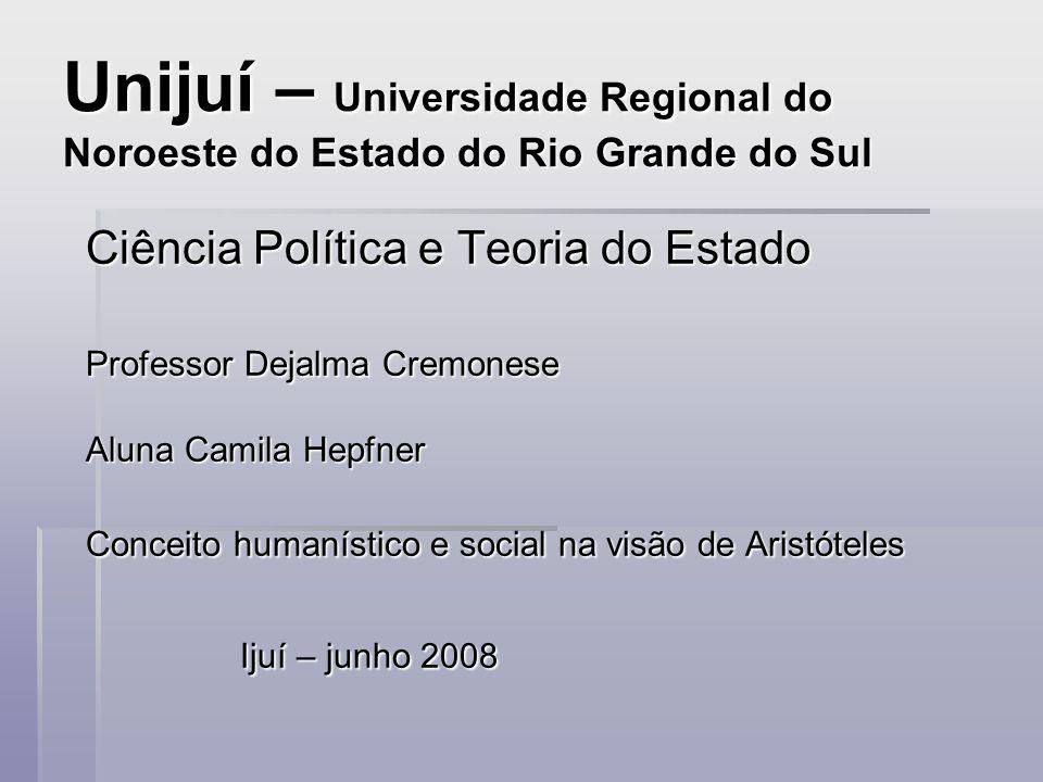 Unijuí – Universidade Regional do Noroeste do Estado do Rio Grande do Sul Ciência Política e Teoria do Estado Professor Dejalma Cremonese Aluna Camila