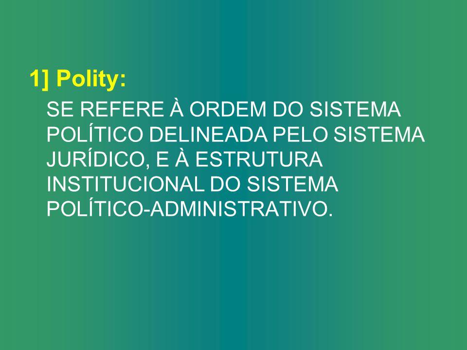 2] POLITICS: TEM-SE EM VISTA O PROCESSO POLÍTICO, FREQUENTEMENTE DE CARÁTER CONFLITUOSO, NO QUE DIZ RESPEITO À IMPOSIÇÃO DE OBJETIVOS, AOS CONTEÚDOS E AS DECISÕES DE DISTRIBUIÇÃO.