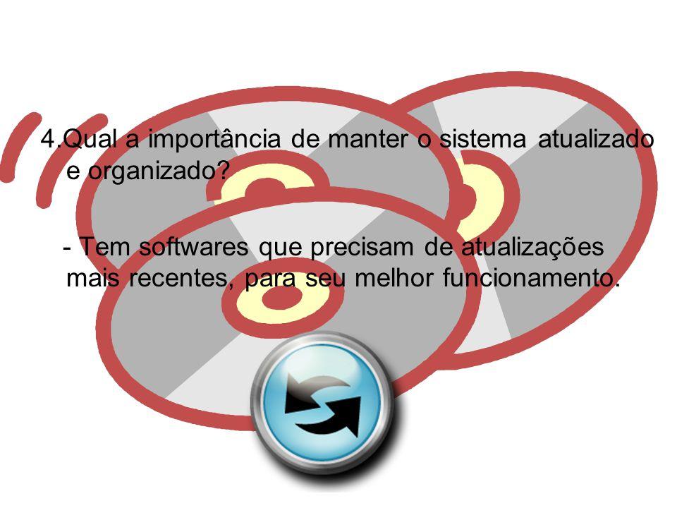 4.Qual a importância de manter o sistema atualizado e organizado.