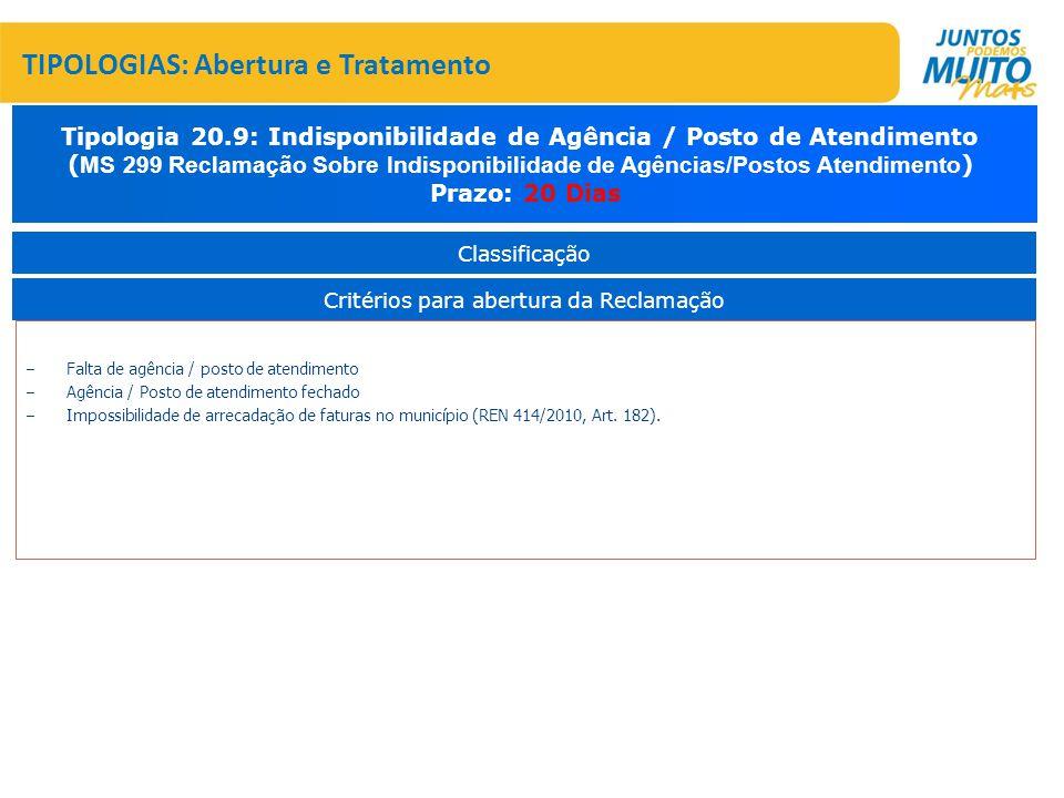 – Falta de agência / posto de atendimento – Agência / Posto de atendimento fechado – Impossibilidade de arrecadação de faturas no município (REN 414/2010, Art.