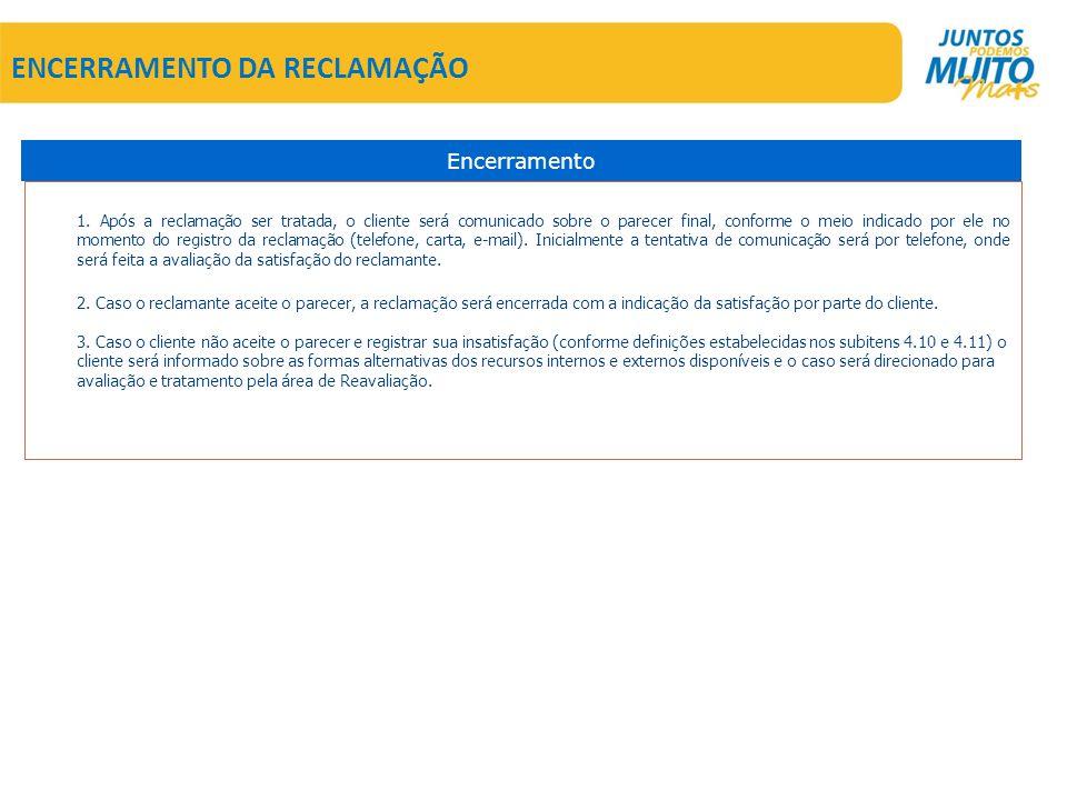 ENCERRAMENTO DA RECLAMAÇÃO 1.