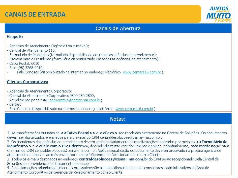 CANAIS DE ENTRADA Grupo B: - Agencias de Atendimento (agência fixa e móvel); - Central de Atendimento 116; - Formulário de Manifesto (formulário disponibilizado em todas as agências de atendimento); - Escreva para o Presidente (formulário disponibilizado em todas as agências de atendimento); - Caixa Postal: 6010 - Fax: (98) 3268 4014; - Fale Conosco (disponibilizado na internet no endereço eletrônico www.cemar116.com.br ).www.cemar116.com.br Clientes Corporativos: - Agencias de Atendimento Corporativo; - Central de Atendimento Corporativo: 0800 280 2800; - Atendimento por e-mail: corporativo@cemar-ma.com.br ;corporativo@cemar-ma.com.br - Cartas; - Fale Conosco (disponibilizado na internet no endereço eletrônico www.cemar116.com.br ).www.cemar116.com.br Canais de Abertura Notas: 1.