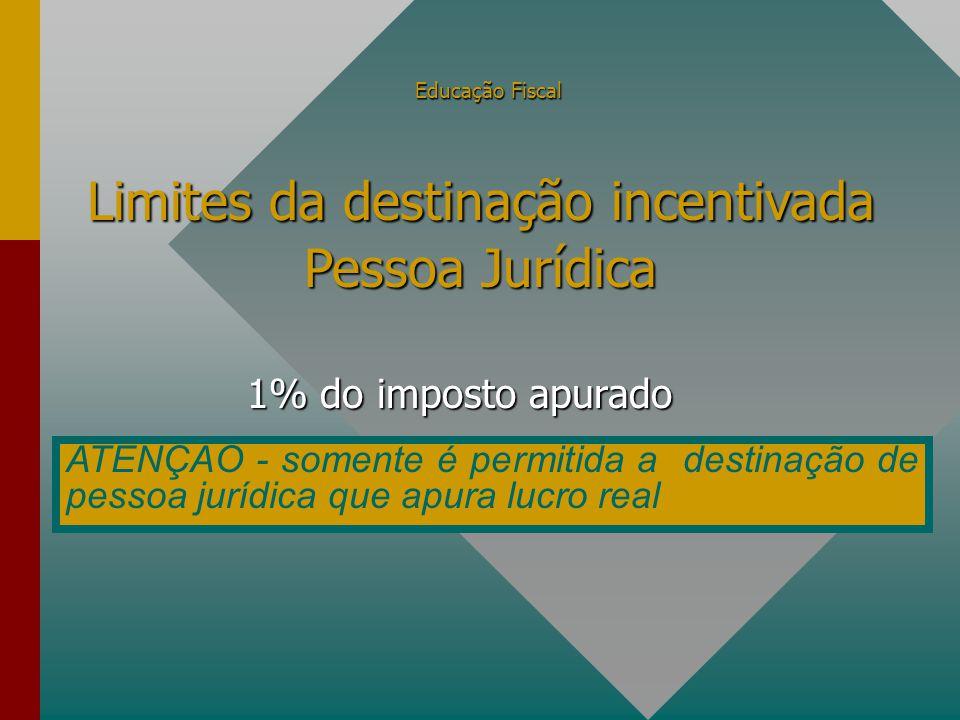 Educação Fiscal 1% do imposto apurado Limites da destinação incentivada Pessoa Jurídica ATENÇÃO - somente é permitida a destinação de pessoa jurídica que apura lucro real