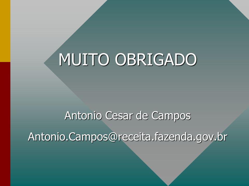 MUITO OBRIGADO Antonio Cesar de Campos Antonio.Campos@receita.fazenda.gov.br