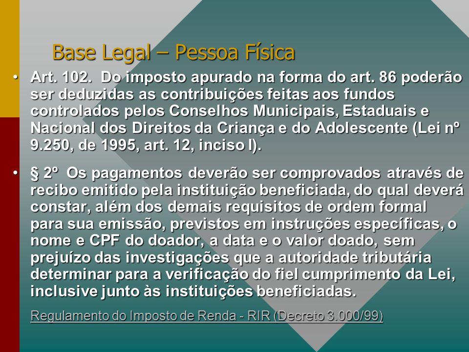 Base Legal – Pessoa Física Art.102. Do imposto apurado na forma do art.