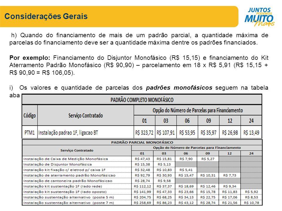 Considerações Gerais h) Quando do financiamento de mais de um padrão parcial, a quantidade máxima de parcelas do financiamento deve ser a quantidade máxima dentre os padrões financiados.