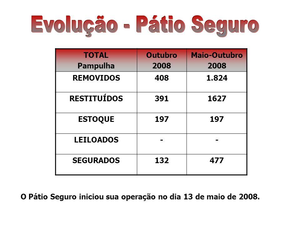 TOTAL Pampulha Outubro 2008 Maio-Outubro 2008 REMOVIDOS4081.824 RESTITUÍDOS3911627 ESTOQUE197 LEILOADOS-- SEGURADOS132477 O Pátio Seguro iniciou sua operação no dia 13 de maio de 2008.