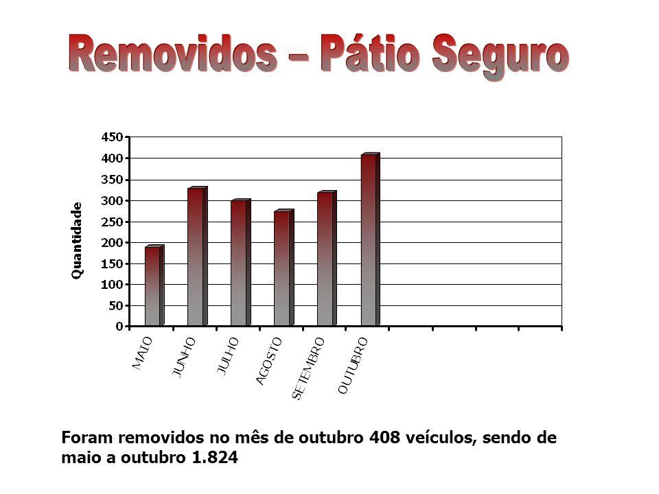 Foram removidos no mês de outubro 408 veículos, sendo de maio a outubro 1.824