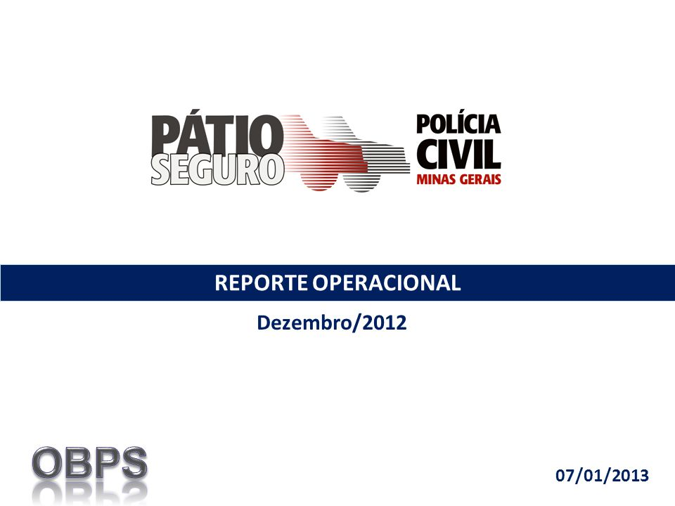 REPORTE OPERACIONAL Dezembro/2012 07/01/2013