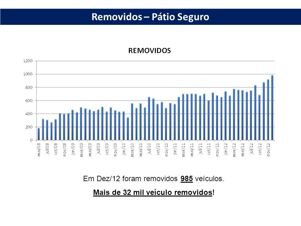 Em Dez/12 foram removidos 985 veículos. Mais de 32 mil veículo removidos! Removidos – Pátio Seguro