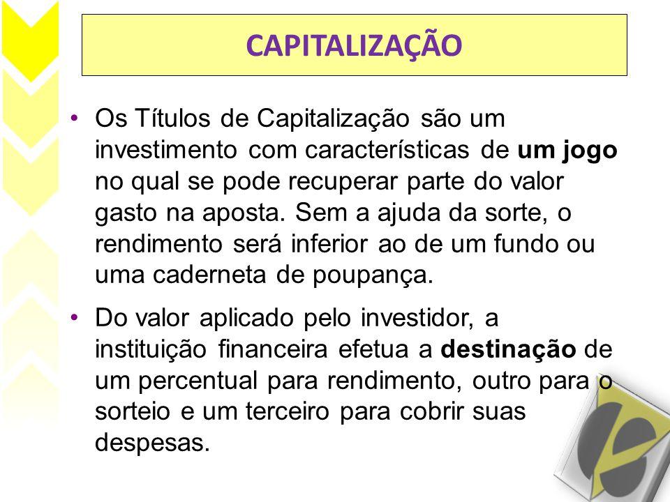 CAPITALIZAÇÃO Os Títulos de Capitalização são um investimento com características de um jogo no qual se pode recuperar parte do valor gasto na aposta.
