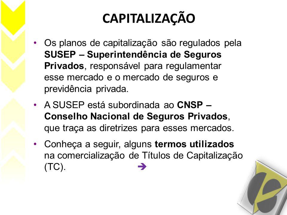 CAPITALIZAÇÃO Os planos de capitalização são regulados pela SUSEP – Superintendência de Seguros Privados, responsável para regulamentar esse mercado e