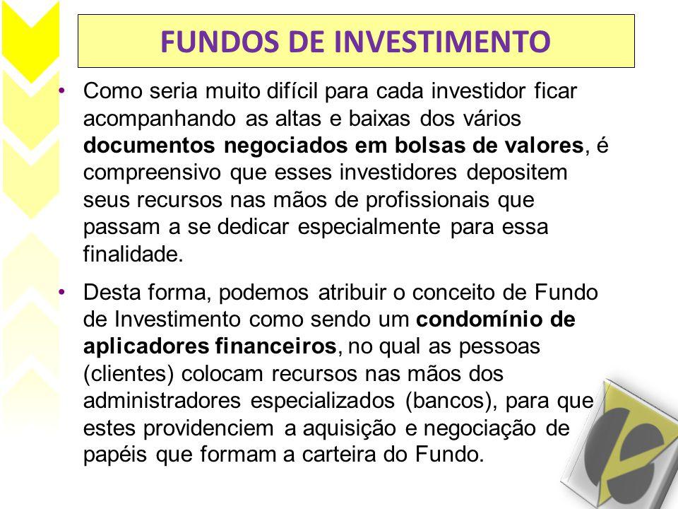 FUNDOS DE INVESTIMENTO Como seria muito difícil para cada investidor ficar acompanhando as altas e baixas dos vários documentos negociados em bolsas d