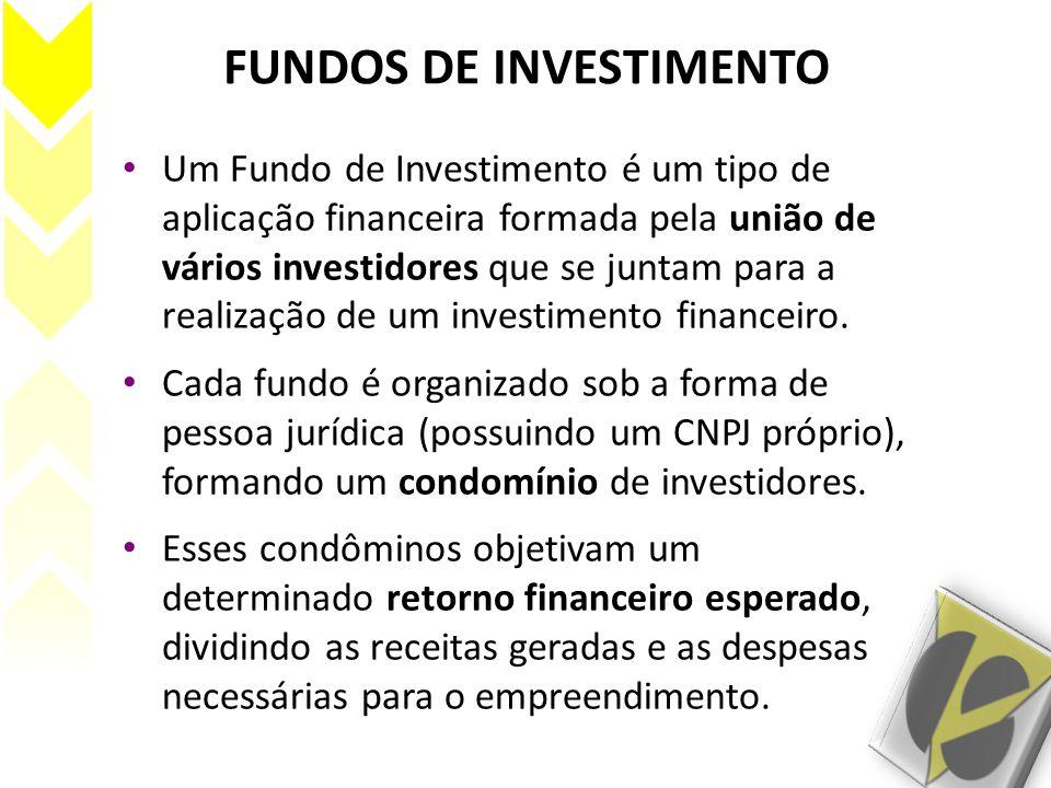 FUNDOS DE INVESTIMENTO Um Fundo de Investimento é um tipo de aplicação financeira formada pela união de vários investidores que se juntam para a reali