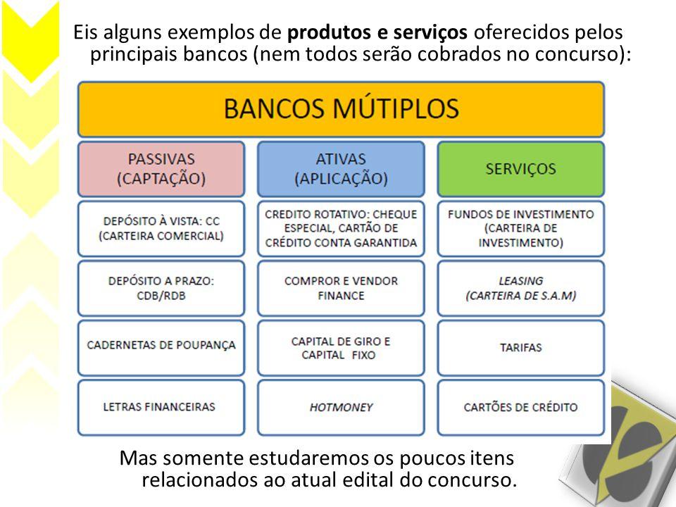 Eis alguns exemplos de produtos e serviços oferecidos pelos principais bancos (nem todos serão cobrados no concurso): Mas somente estudaremos os pouco