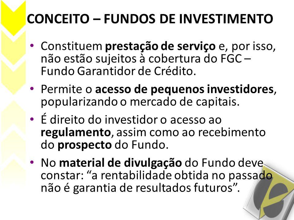 CONCEITO – FUNDOS DE INVESTIMENTO Constituem prestação de serviço e, por isso, não estão sujeitos à cobertura do FGC – Fundo Garantidor de Crédito. Pe