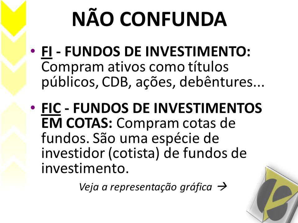 NÃO CONFUNDA FI - FUNDOS DE INVESTIMENTO: Compram ativos como títulos públicos, CDB, ações, debêntures... FIC - FUNDOS DE INVESTIMENTOS EM COTAS: Comp