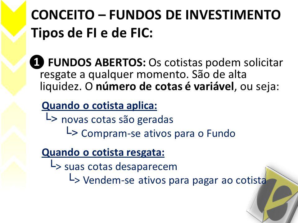 CONCEITO – FUNDOS DE INVESTIMENTO Tipos de FI e de FIC: FUNDOS ABERTOS: Os cotistas podem solicitar resgate a qualquer momento. São de alta liquidez.