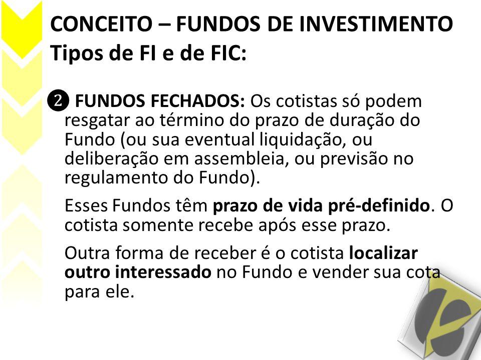CONCEITO – FUNDOS DE INVESTIMENTO Tipos de FI e de FIC: FUNDOS FECHADOS: Os cotistas só podem resgatar ao término do prazo de duração do Fundo (ou sua