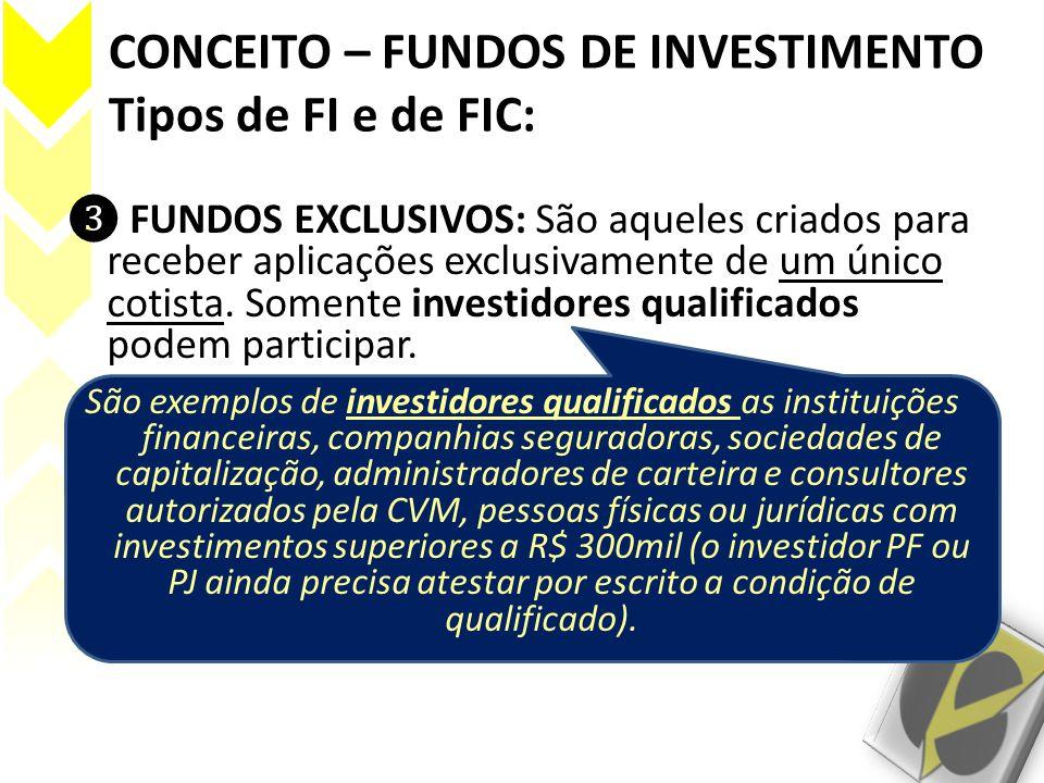 CONCEITO – FUNDOS DE INVESTIMENTO Tipos de FI e de FIC: FUNDOS EXCLUSIVOS: São aqueles criados para receber aplicações exclusivamente de um único coti